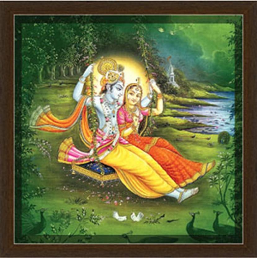 Shree Radha Krishna On Swing Frame By Returnfavors Canvas