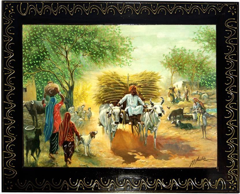 Rajasthani Village Handmade Wooden Fine Art Print
