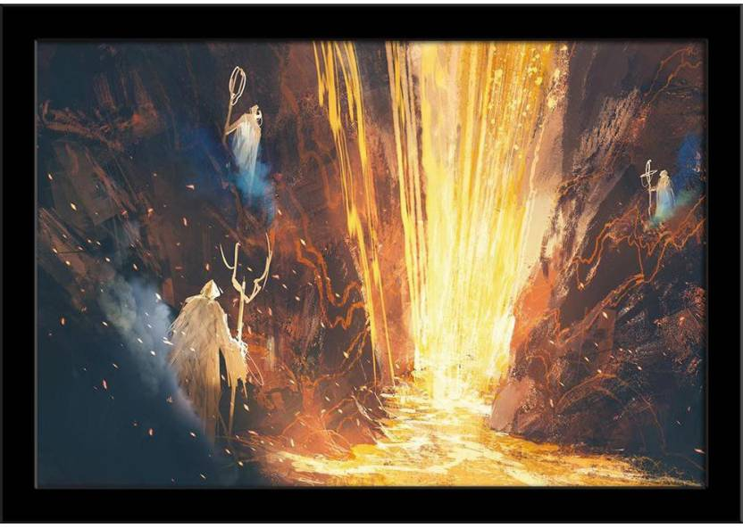 Three Wizards Casting A Spell In Lava Cave Framed Art Print