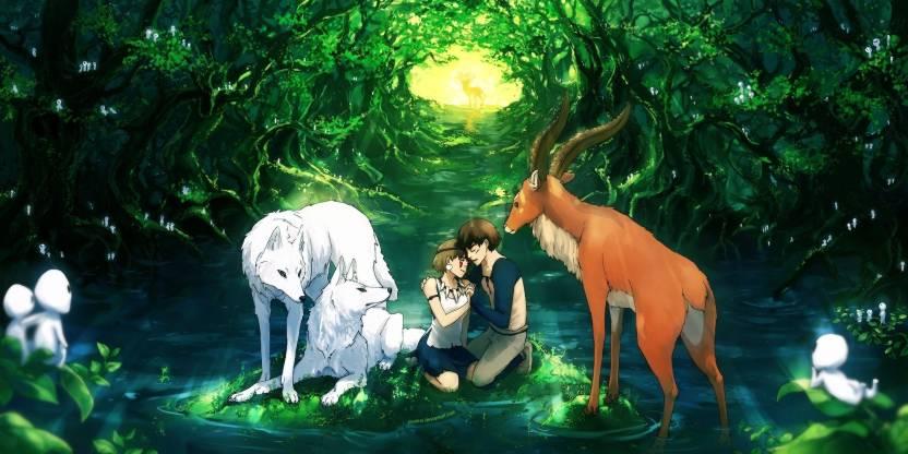 Akhuratha Poster Movie Princess Mononoke Love Wolf Garden Romantic
