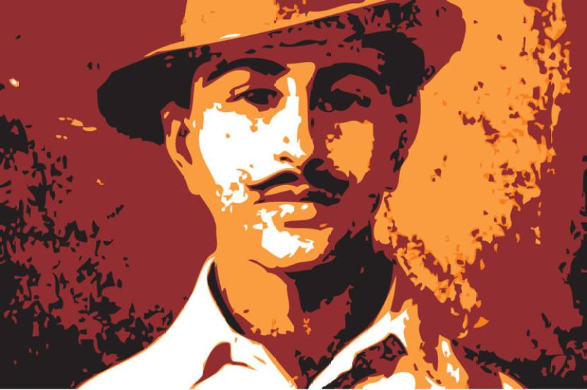 Bhagat Singh Red Paper Print Personalities Posters In India