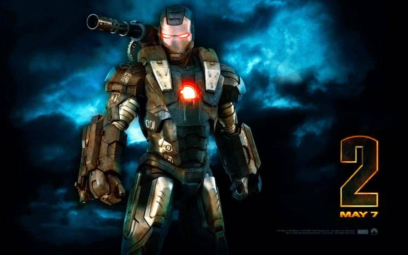 Movie Iron Man 2 Iron Man Blue Dark Cloud Red Metal Glow