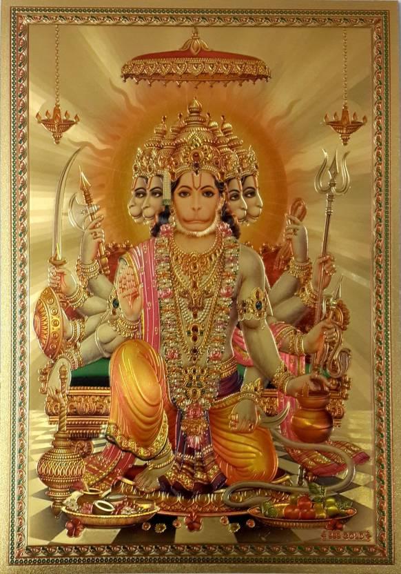 shree hanuman ji golden fcs fine art print religious posters in