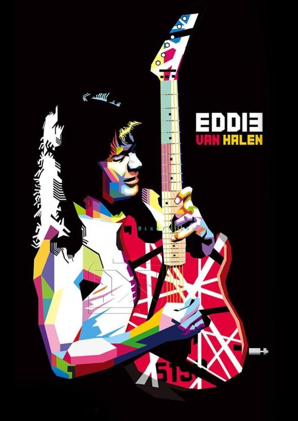Art Print Poster Canvas Eddie Van Halen Playing Guitar