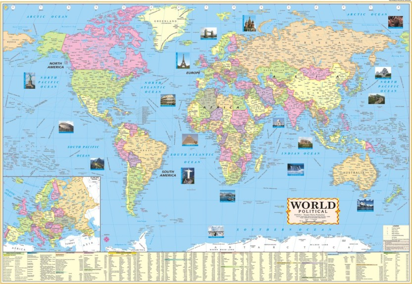 photo about World Political Map Printable referred to as Globe POLITICAL MAP(PAPER PRINT LAMINATED) 28 X 40 INCH ROLLED Paper Print