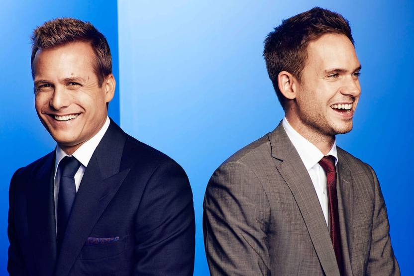 f03c613eeec95 Suits - Harvey Specter and Mike Ross Blue Background Paper Print (12 inch X  18 inch