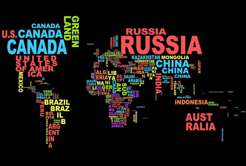 The world map in text poster paper print abstract posters in the world map in text poster paper print gumiabroncs Image collections