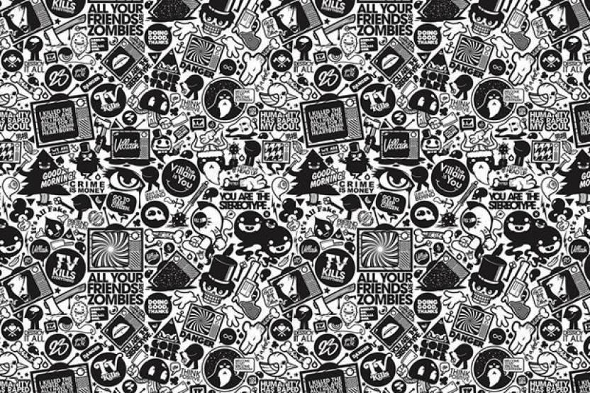 Black and white graffiti photographic paper