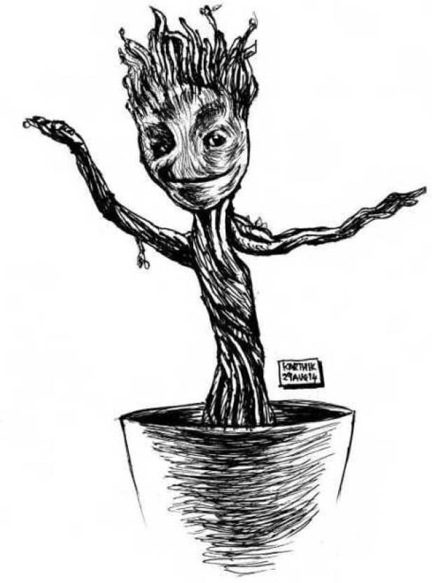 Baby Groot Artwork Artist Karthik Abhiram Photographic Paper