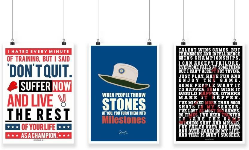 77a8a1ff006c3 Set of Three Sport Motivational Quotes Poster Paper Print - Lab No ...