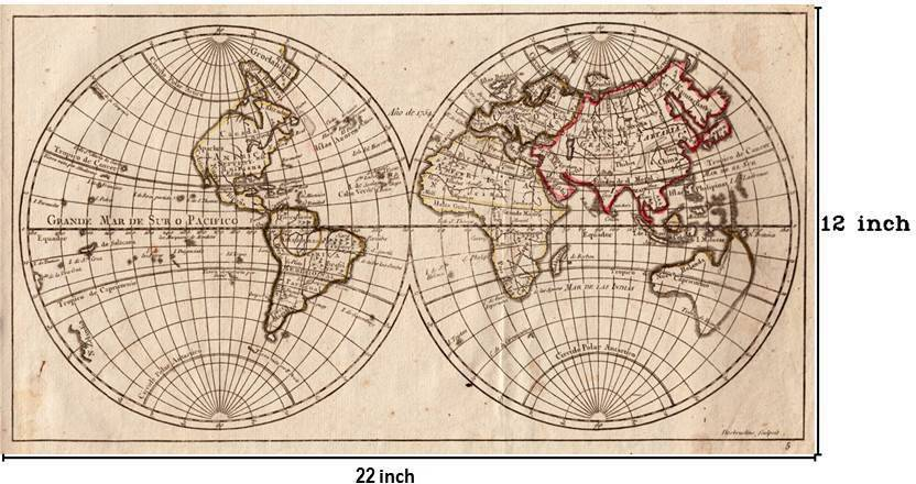 Vintage World Map - 02 Paper Print - Maps posters in India - Buy art ...