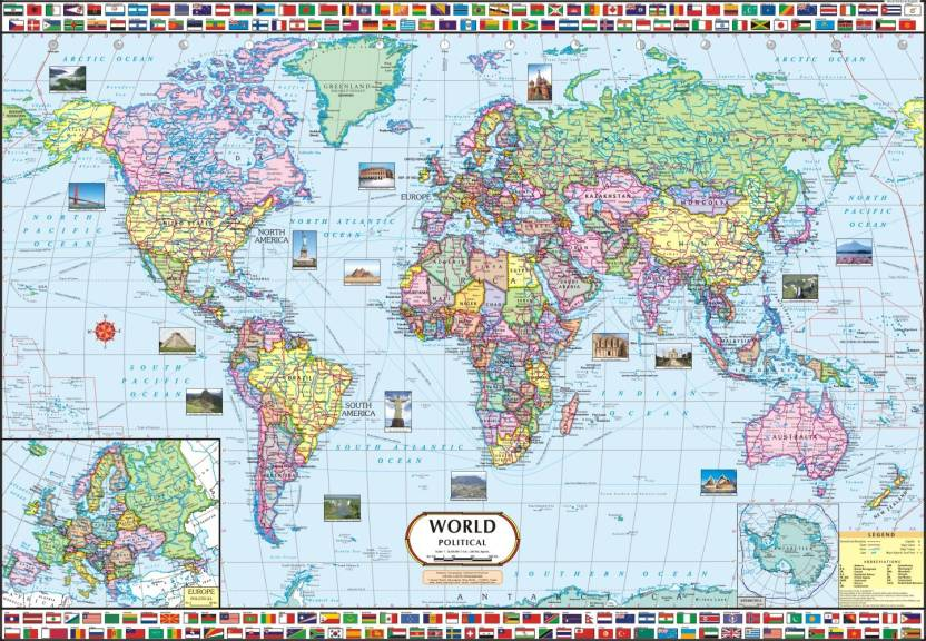 world map political wall chart paper print maps. Black Bedroom Furniture Sets. Home Design Ideas