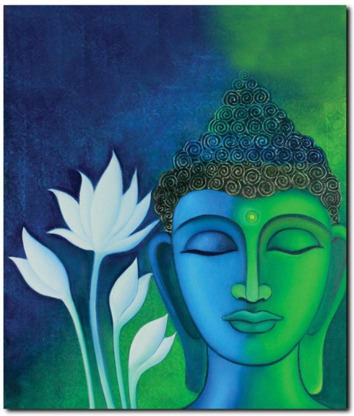 stybuzz buddha face painting blue frameless canvas art - art  u0026 paintings posters in india