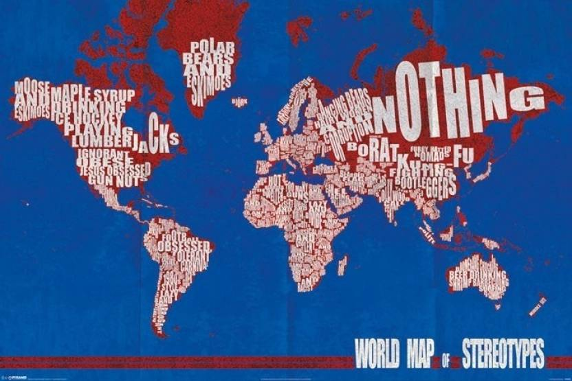 world map of stereotypes paper print