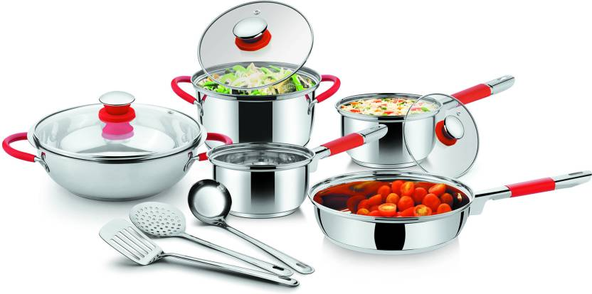 Ideale Italian Passion Steel Cookware Kadhai, Pan, Pot Set
