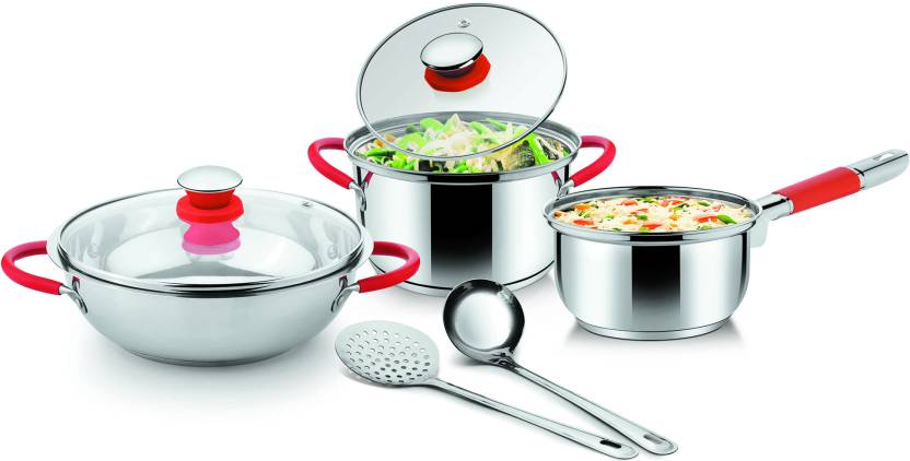 Ideale Italian Passion Steel Cookware Pot, Kadhai Set