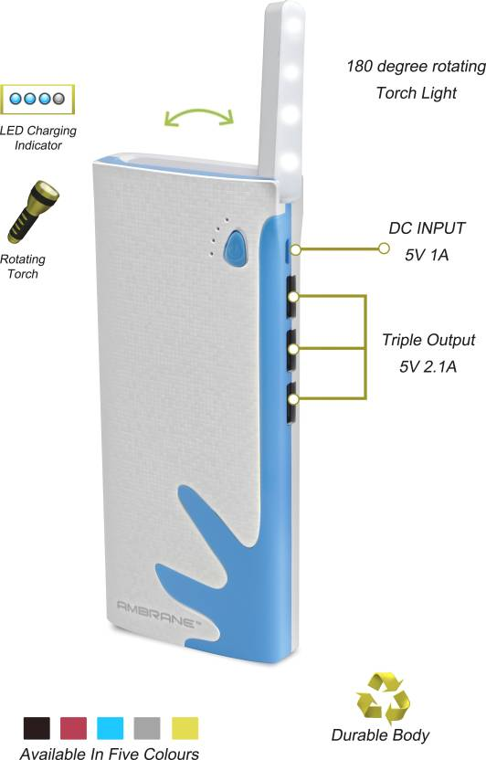 Ambrane P-1122 White & Blue 10000 mAh Power Bank By Flipkart @ Rs.799