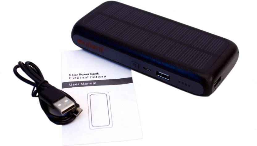 Exilient 10000 mAh Power Bank (10000 mAh Solar Power Bank, Dual USB Port  for smart phone, iPhone, iPad, PSP, Ebook, Digital Camera, Battery Pack)
