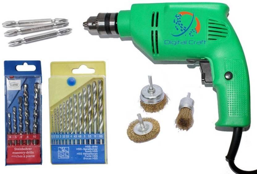 Digital Craft 18PC Drill Bit set for drilling Concrete, Wall, Wood,  Malleable Iron, Alumin, plastic 3PC PH2 65MM SCREW BIT 3PCS WIRE BRUSH  Pistol Grip