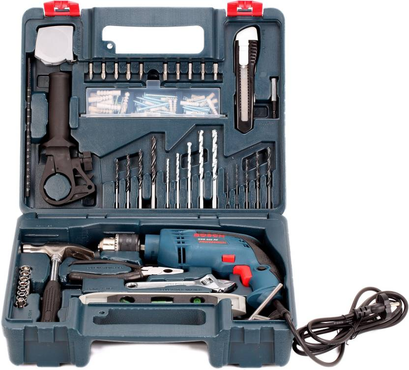 bosch gsb 600 re drill kit power hand tool kit 13 tools. Black Bedroom Furniture Sets. Home Design Ideas