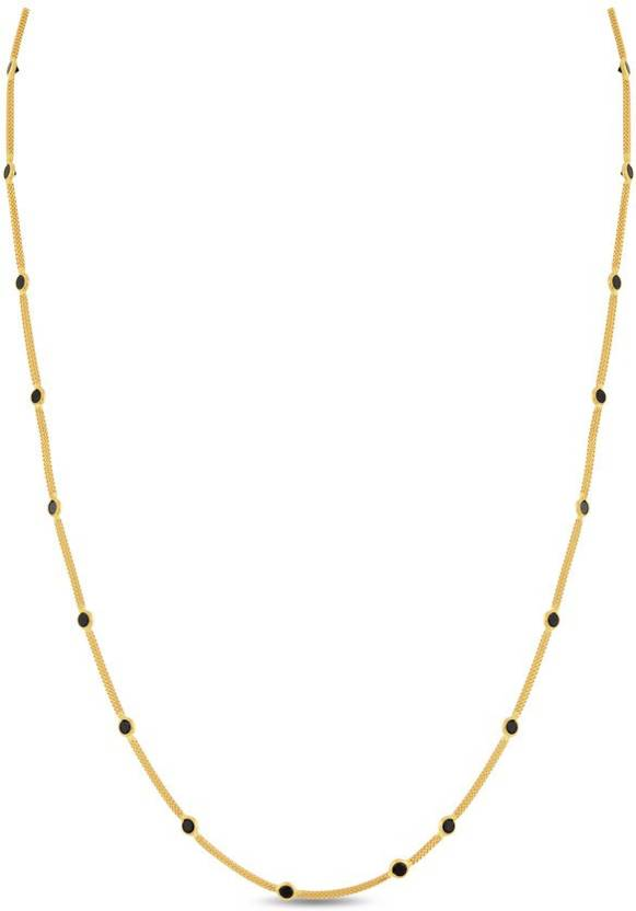521b6b049 P.N.Gadgil Jewellers Elegant Station with Black Stones Cable Chain Yellow  Gold Precious Chain (22kt)