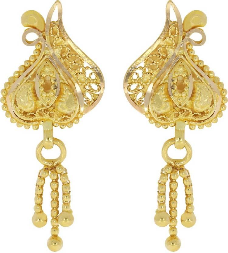 Kalyan Jewellers Calcutta Hanging Yellow Gold 22kt Stud Earring ...