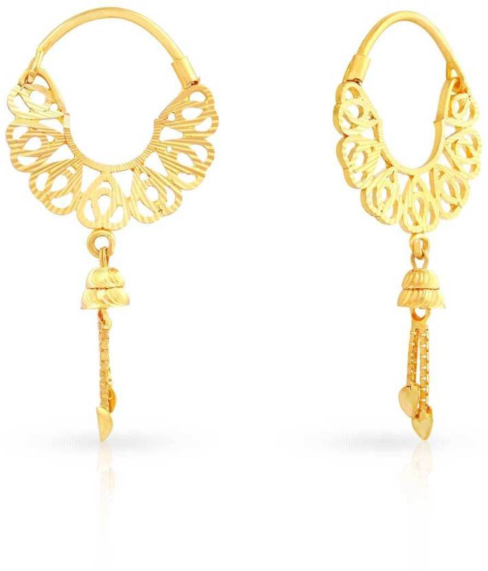 Malabar Gold and Diamonds Yellow Gold 22kt Hoop Earring Price in ...
