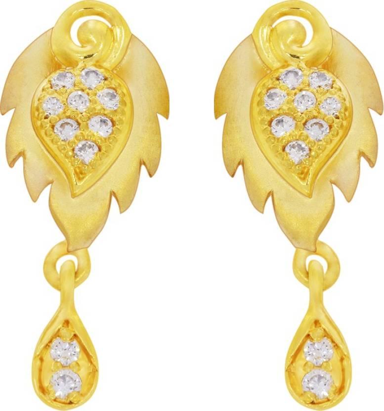 6b14d9afe374f Kalyan Jewellers Moulding Fancy Yellow Gold 22kt Cubic Zirconia Stud ...