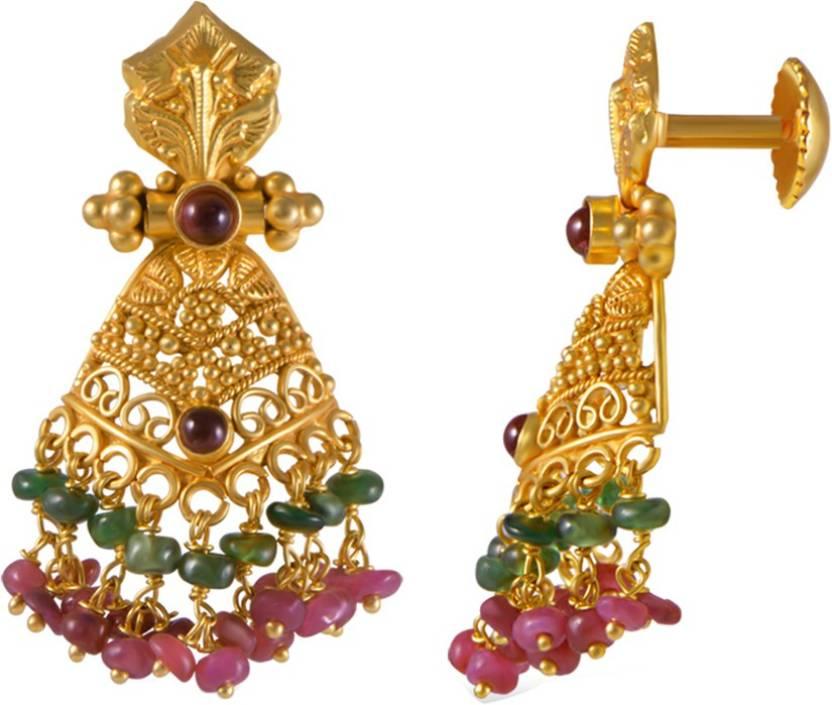 Joyalukkas Yellow Gold 22kt Stud Earring Price in India - Buy ...