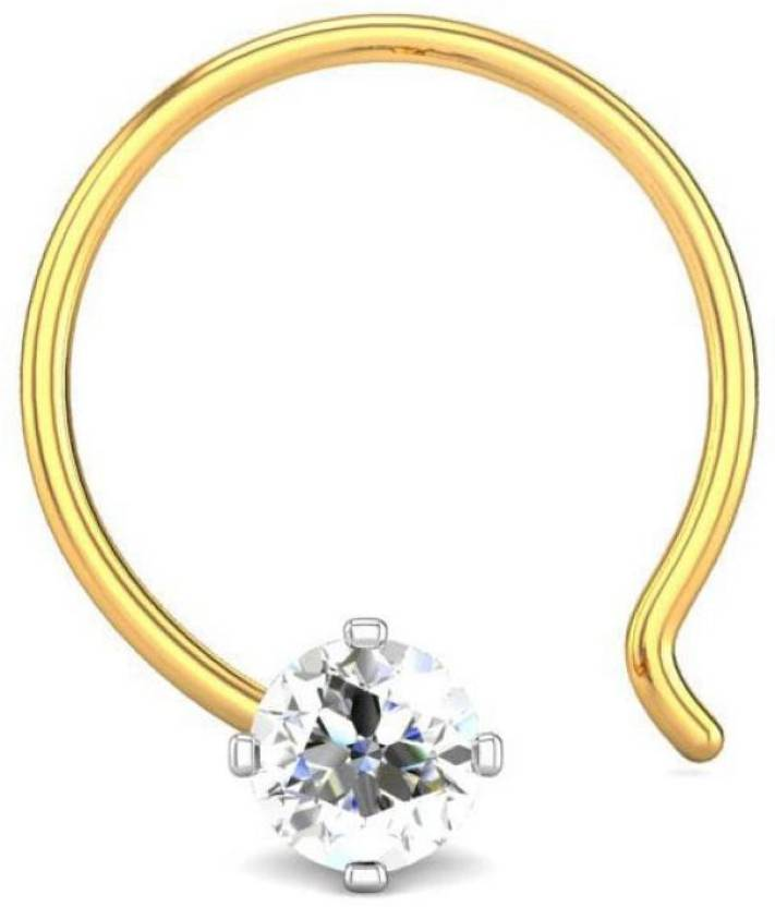 Candere 0.03ct Four Prong 18kt Diamond Yellow Gold Nose Wire available at Flipkart for Rs.3058