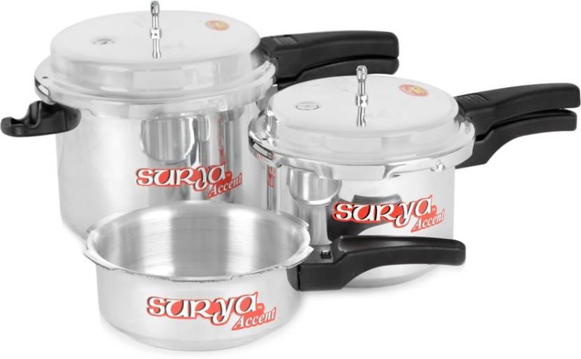 SuryaAccent Super Saver combo pack 5 L, 3 L, 2 L Pressure Cooker