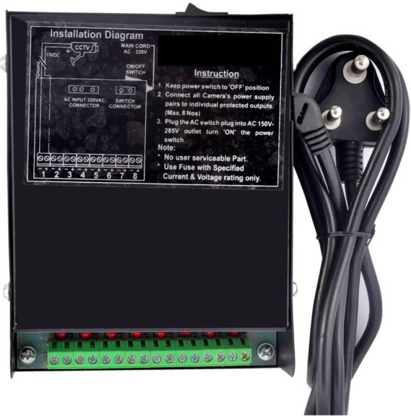 smartsurveillance 12 Volt, 8 Amp, 8 Channel CCTV Power