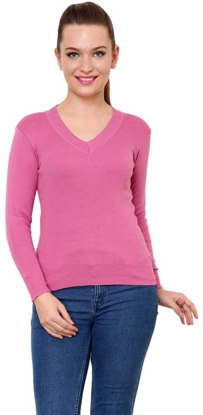 498769e9a8f Renka V-neck Solid Women s Pullover - Buy Light Pink Renka V-neck Solid  Women s Pullover Online at Best Prices in India