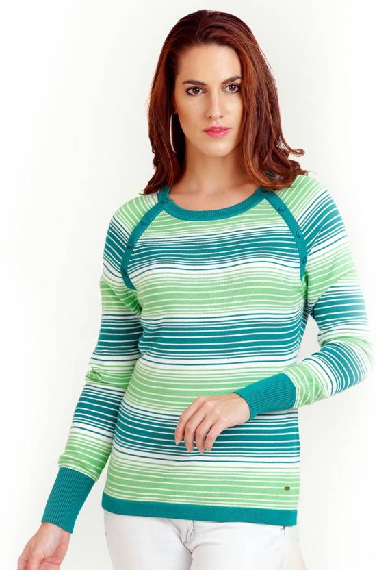 9b28cdcccf0ff9 Moda Elementi Round Neck Striped Women's Pullover - Buy Green Moda ...