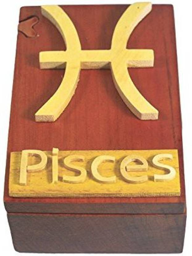 South Asia Trading Handmade Wooden Art Intarsia Trick Secret Pisces