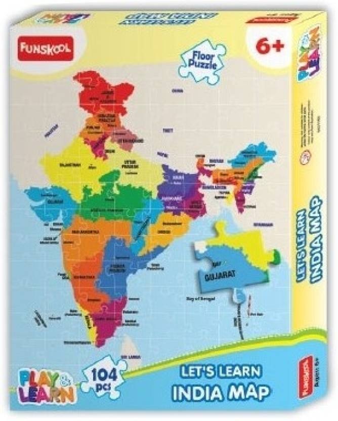 Funskool India Map Puzzles Learning Game India Map Puzzles - India map