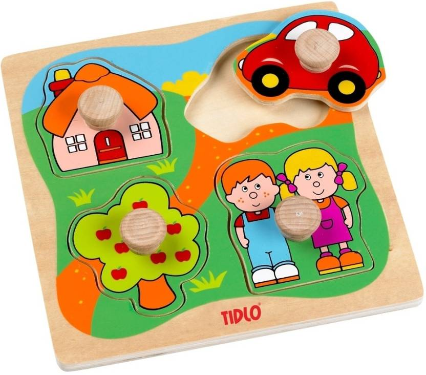 Tidlo House Car and Garden Wooden Peg Puzzle - House Car and