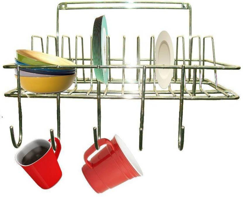 Kitchen Design Hanging Cup Saucer Stand Stainless Steel Wall Shelf