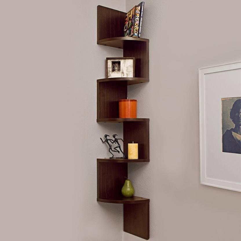 Custom Decor Zig Zag Corner Wooden Wall Shelf