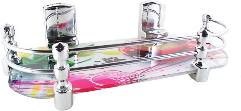 RoyaL Indian Craft 12 By 5 Inch Long Hard Bracket Multi color Glass Wall Shelf Number of Shelves   1, Multicolor