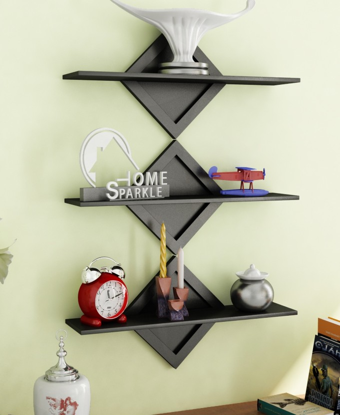 home sparkle set of 3 wall shelves mdf wall shelf price in india rh flipkart com 3 square wall shelves 3-piece wall cube shelves