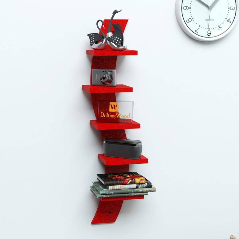 DriftingWood Snack Shape 5 Tier Floating Red MDF Wall Shelf
