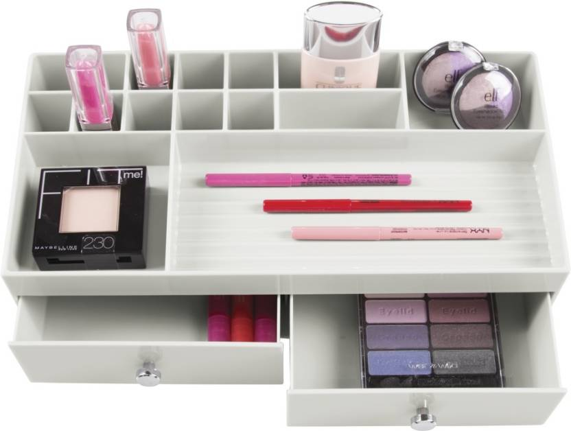 72c3734d6ddb Interdesign 2 Drawer Cosmetic Organizer for Vanity Cabinet to Hold Makeup,  Nail Polish, Beauty Products - Light Gray Plastic Wall Shelf