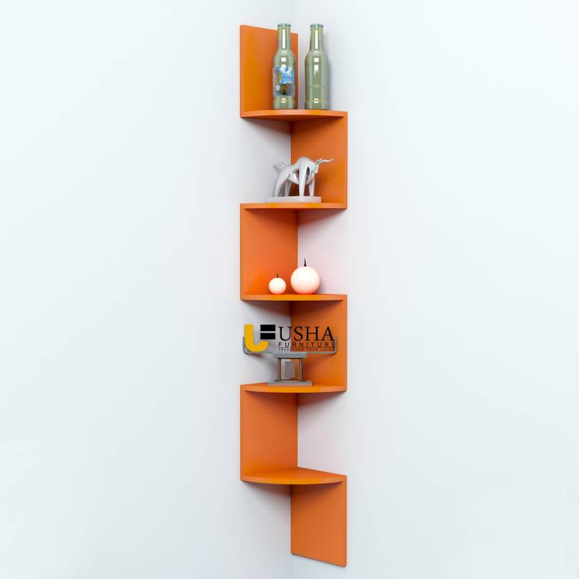 Usha Furniture Corner Mount Wall Shelves Zigzag Shape Rack Mdf Wall