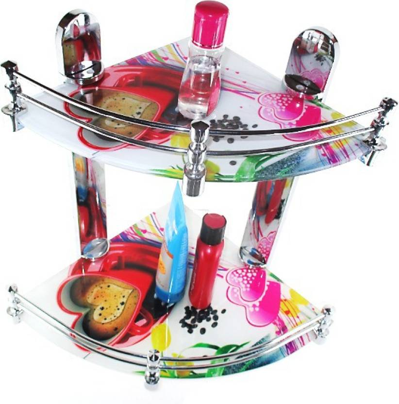 RoyaL Indian Craft Heart Printed Multi Color Multipurpose Double Glass Wall Shelf