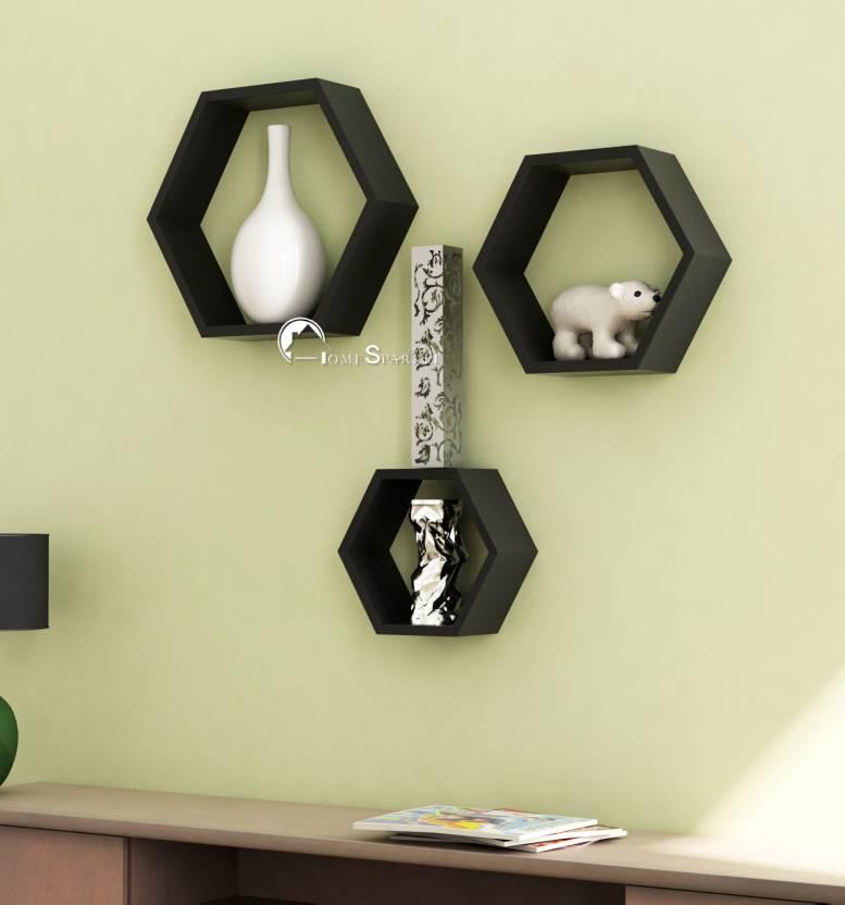Home Sparkle Hexagonal Wooden Wall Shelf (Number of Shelves - 3, Black)