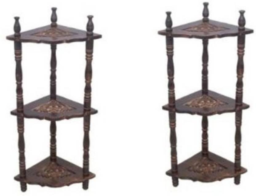 Onlineshoppee Pack of 2 corner rack Wooden Wall Shelf Number of Shelves   6, Brown