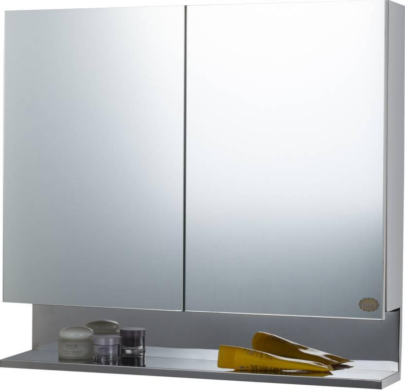 Cipla Plast Double Door Stainless Steel Bathroom Cabinet Wall Shelf