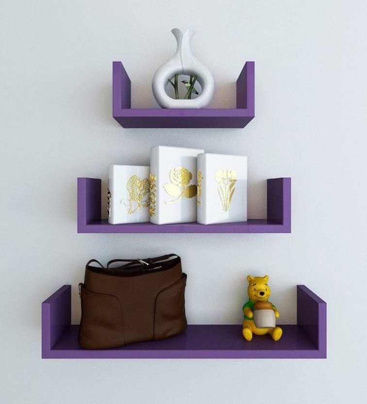 Decorhand Wooden Wall Shelf Number of Shelves   3, Purple