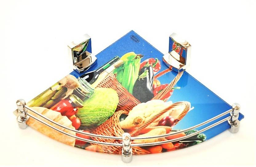RoyaL Indian Craft 12 Inch Fruits Printed Glass Wall Shelf Number of Shelves   1, Multicolor